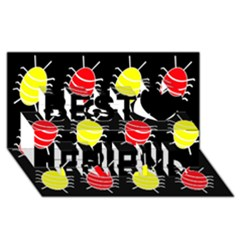 Red And Yellow Bugs Pattern Best Friends 3d Greeting Card (8x4)