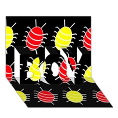 Red and yellow bugs pattern BOY 3D Greeting Card (7x5)