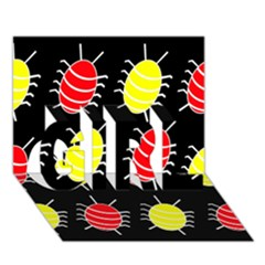 Red and yellow bugs pattern GIRL 3D Greeting Card (7x5)