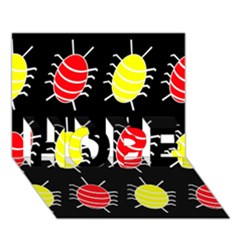 Red and yellow bugs pattern HOPE 3D Greeting Card (7x5)