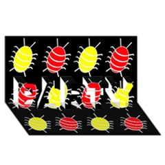 Red and yellow bugs pattern PARTY 3D Greeting Card (8x4)