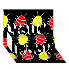 Red and yellow bugs pattern You Rock 3D Greeting Card (7x5)