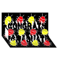 Red and yellow bugs pattern Congrats Graduate 3D Greeting Card (8x4)
