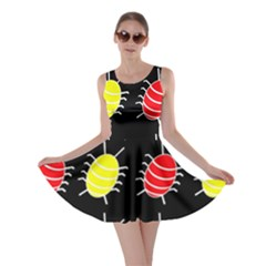 Red and yellow bugs pattern Skater Dress