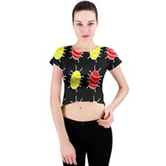 Red and yellow bugs pattern Crew Neck Crop Top