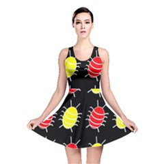 Red and yellow bugs pattern Reversible Skater Dress