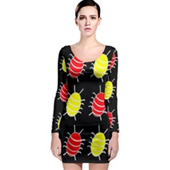 Red and yellow bugs pattern Long Sleeve Bodycon Dress