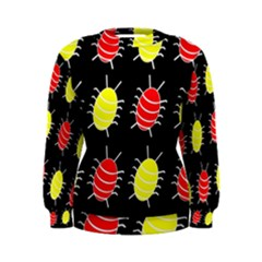 Red and yellow bugs pattern Women s Sweatshirt