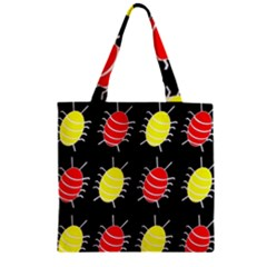 Red and yellow bugs pattern Zipper Grocery Tote Bag