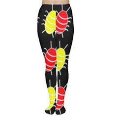 Red and yellow bugs pattern Women s Tights