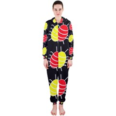 Red and yellow bugs pattern Hooded Jumpsuit (Ladies)