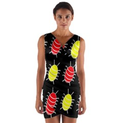 Red And Yellow Bugs Pattern Wrap Front Bodycon Dress