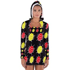 Red and yellow bugs pattern Women s Long Sleeve Hooded T-shirt