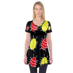 Red And Yellow Bugs Pattern Short Sleeve Tunic
