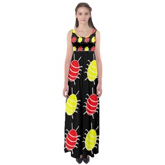 Red And Yellow Bugs Pattern Empire Waist Maxi Dress
