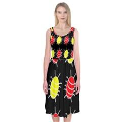 Red and yellow bugs pattern Midi Sleeveless Dress