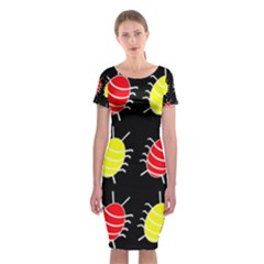 Red And Yellow Bugs Pattern Classic Short Sleeve Midi Dress