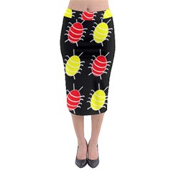 Red and yellow bugs pattern Midi Pencil Skirt