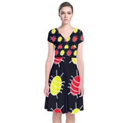 Red and yellow bugs pattern Short Sleeve Front Wrap Dress