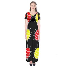 Red And Yellow Bugs Pattern Short Sleeve Maxi Dress