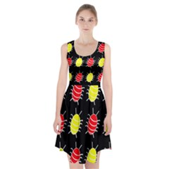 Red and yellow bugs pattern Racerback Midi Dress