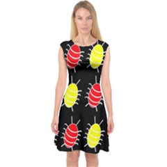 Red and yellow bugs pattern Capsleeve Midi Dress