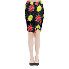 Red and yellow bugs pattern Midi Wrap Pencil Skirt