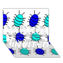 Blue bugs YOU ARE INVITED 3D Greeting Card (7x5)