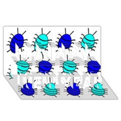 Blue bugs Happy New Year 3D Greeting Card (8x4)