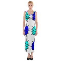 Blue bugs Fitted Maxi Dress