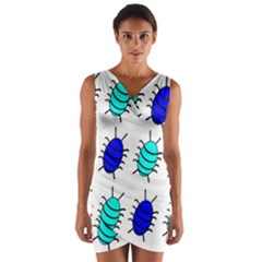 Blue bugs Wrap Front Bodycon Dress