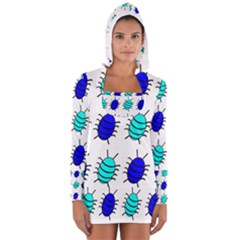 Blue bugs Women s Long Sleeve Hooded T-shirt