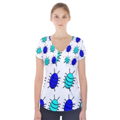 Blue bugs Short Sleeve Front Detail Top