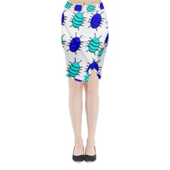 Blue bugs Midi Wrap Pencil Skirt