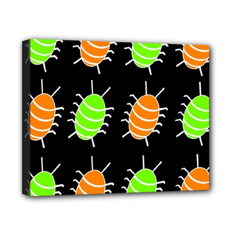 Green and orange bug pattern Canvas 10  x 8