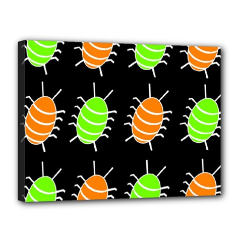 Green and orange bug pattern Canvas 16  x 12