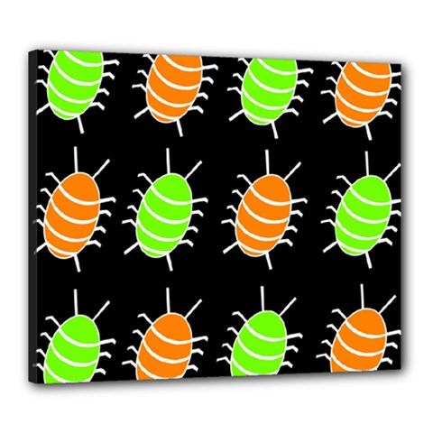 Green and orange bug pattern Canvas 24  x 20