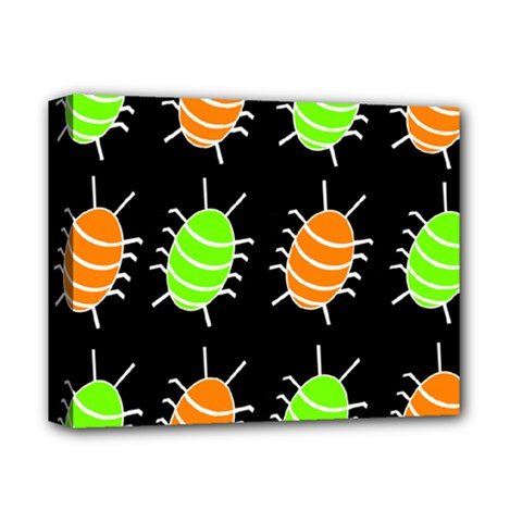 Green and orange bug pattern Deluxe Canvas 14  x 11
