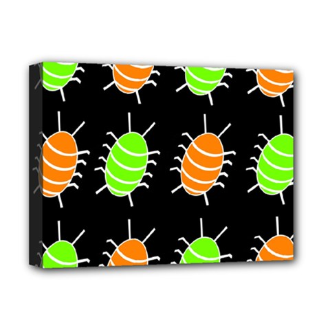 Green and orange bug pattern Deluxe Canvas 16  x 12