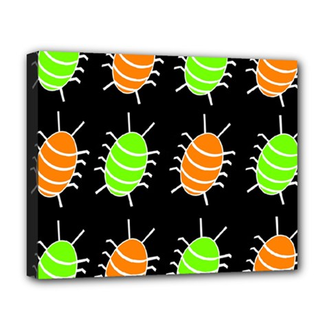 Green and orange bug pattern Deluxe Canvas 20  x 16