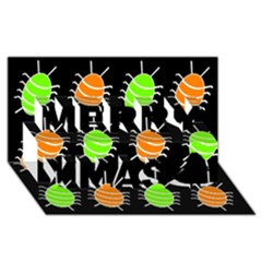 Green and orange bug pattern Merry Xmas 3D Greeting Card (8x4)