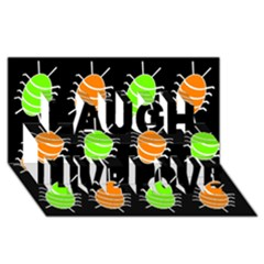 Green and orange bug pattern Laugh Live Love 3D Greeting Card (8x4)