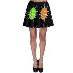 Green and orange bug pattern Skater Skirt