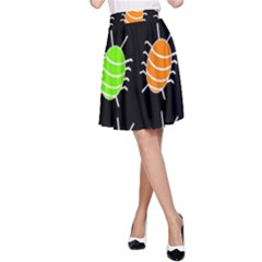 Green and orange bug pattern A-Line Skirt