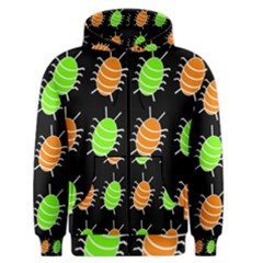 Green and orange bug pattern Men s Zipper Hoodie