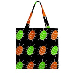 Green and orange bug pattern Zipper Grocery Tote Bag