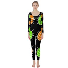 Green and orange bug pattern Long Sleeve Catsuit