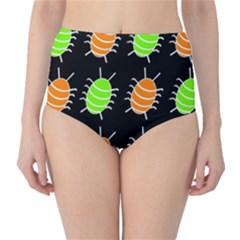 Green and orange bug pattern High-Waist Bikini Bottoms