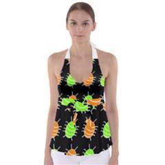 Green and orange bug pattern Babydoll Tankini Top