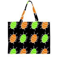 Green and orange bug pattern Large Tote Bag